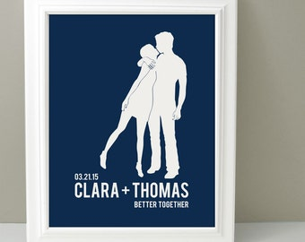 Couples Silhouette Portrait, Personalized Gift for her, Wedding Gift, Custom Silhouette Wall Art, Custom Portrait, Navy blue home decor