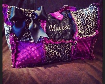 Custom magenta purple and baby cheetah diaper bag, handbag, purse, monogramming