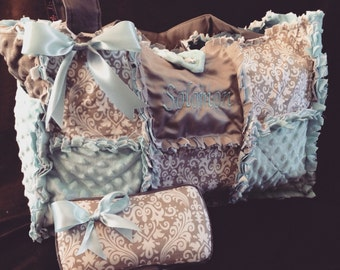 Custom baby blue and grey damask rag quilt diaper bag purse for baby boy and monogramming