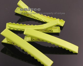 14pcs-45mmAlligator Colored Hair Clips Pins with Teeth-Green(E250)