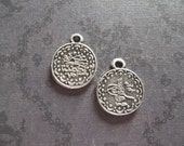 Round Ethnic Coins - Ethnic Tags - Two Sided Charms or Pendants - Oxidized & Antiqued Silver Sterling Plated Pewter - Qty 2