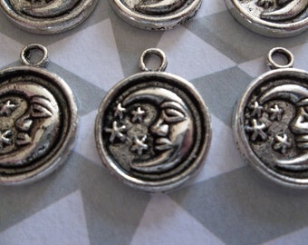 Round Silver Man in the Moon Charms - Qty 6