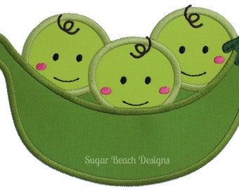 3 Peas in a Pod-  Machine Applique Embroidery Design (097)