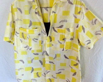 JAG Beverly Hills Vintage 1980s Camp Shirt s/s - Button Front 2 Pocket - Festival Wear Original Authentic  - Size M