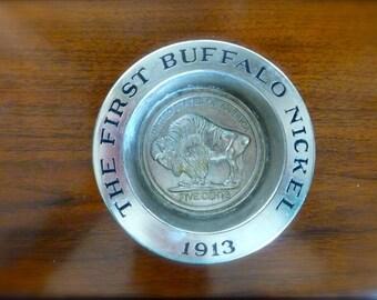 Vintage 1970's Cast Metal AVON 1913 1st Buffalo Nickel Soap Dish candle holder trinket tray