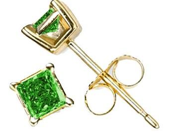 14k gold  earrings green diamonds