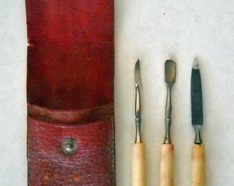 Vintage Manicure Set Three Pieces in a Red Leather Case