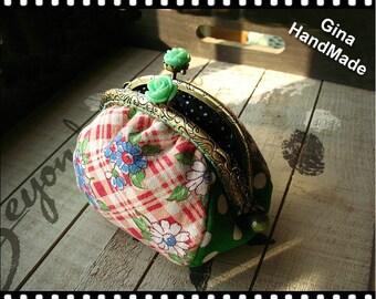 Mint rose  coin purse / Metal frame purse /  Coin Wallet / Pouch / Kiss lock frame bag -GinaHandMade