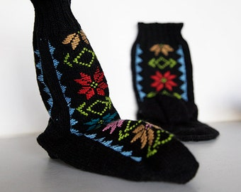 Hand Knit Wool Stockings, US size 5-8, Handmade, Hand Dyed, Winter Slippers, Birthday Gift, Warm Shoes, Kids Shoes, For Her, Colorful