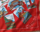 "Beautiful Red Poly Ladies Souvenir Canada Scarf - 28"" x 28"" Square"
