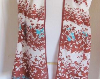 SALE!! Beautiful Vintage White Brown Silk Scarf - 10 x 52 Long