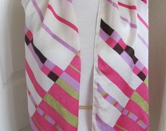"Lovely Pink White Silk Designer Scarf - 10"" x 52"" Long"