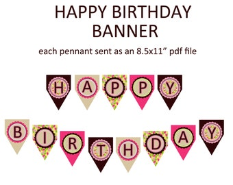 Printable Happy Birthday banner - coordinates with our pink owl birthday theme