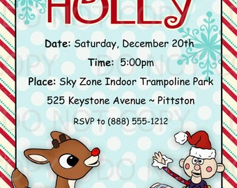 Printable DIY Christmas Party Rudolph MIsfit Toys Theme Invitations