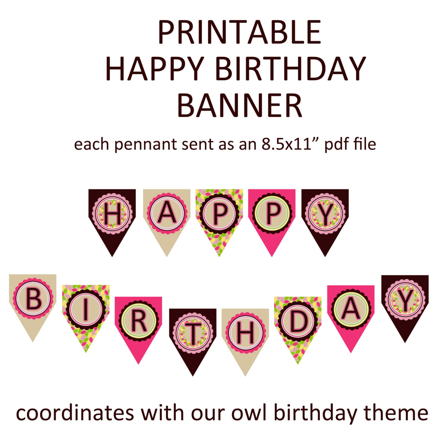 Printable Happy Birthday Banner Coordinates With Our Pink