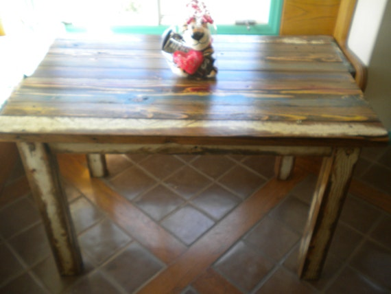 Rustic Bohemian Wood Dining Table or Desk by villa ulada