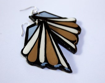 Medium Hand Painted Teardrop and Lined Inspired Earrings in Cinnamon Brown and Sky Blue