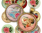 "Valentine's hearts, 1"" and 1.5"" circles, printable images for pendants and magnets, CS5502"