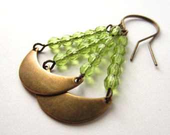 Green Earrings Brass Crescent Earrings Christmas Jewelry Brass Jewelry Peridot Green Jewelry Peridot Earrings Dangle Earrings Handmade