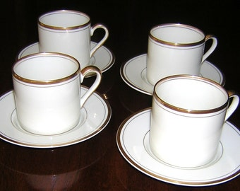 FITZ & FLOYD Set of 4 Palais Buff Demitasse Cups and Saucers
