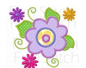 Spring flowers applique machine embroidery design