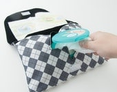 Grey Argyle Diaper + Wipe Clutch