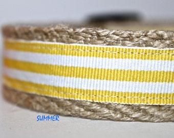 Yellow & White Dog Collar, Striped Dog Collar, Dog Collar, Preppy Dog Collar, Summer Dog Collar