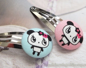 SUMMER SALE - Hair Accessories, Handmade Hair Snap Clips - Fabric Button Chic Baby Pink Baby Blue Floral Pandas (1 Pack, 2 In a set)