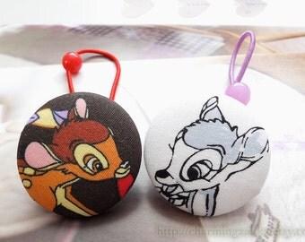 Girl Hair Accessories,Big Hair Tie Button Ponytail Holders-Fairy Tale Sweet Bambi Deer, Choose Pattern(1 PCS)