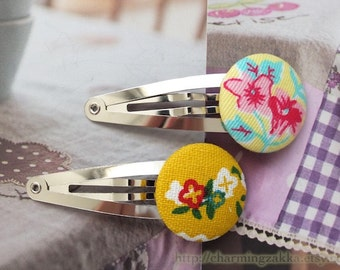 Hair Accessories, Handmade Hair Snap Clips - Fabric Button Shabby Chic Nordic Spring Color Little Flower Pink Flowers (1PCS, Choose Pattern)