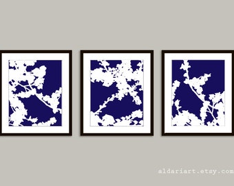 Cherry Blossoms Art Prints - Set of 3 - Navy Blue and White - Nature Home Decor - Modern Spring Tree Wall Art
