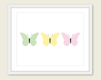 Pastel Butterflies Art Print - Baby Girl Nursery Art - Green yellow Pink Wall Art