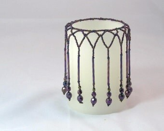 """Beaded candle cover. Fits 3"""" X 4"""" candle.  Candle wrap  candle cover  candle rug"""
