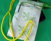 Green lizards pouch for phone reuse eco zippered hand printed green lizards on white cotton fabric stores stylus card reader with lanyard