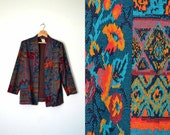 80s tribal print sweater turquoise orange open front cardigan boho 80s vintage / size large