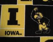 University of Iowa Hawkeyes Logos and Emblems with Black Handmade Blanket