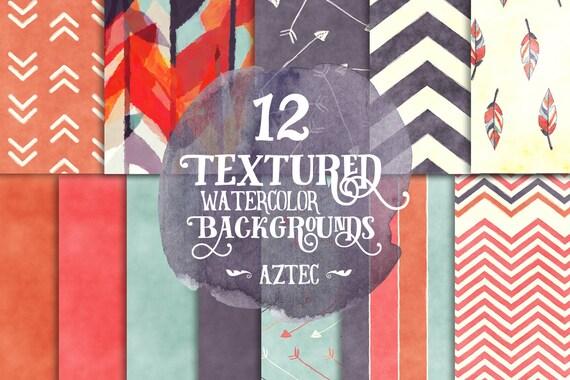 Digital Paper Pack, Watercolor Tribal Aztec, Instant Download for Background, Scrapbooking, blogs, websites