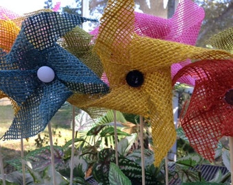 Bouquet of Burlap Pinwheels ! Perfect for the Holidays and Decorations!