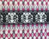 Dark Fuschia Black and White Tribal Aztec Ponte De Roma Knit Fabric, 1 yard