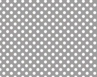Grey and White Polka Dot Jersey Knit Fabric From Riley Blake Basics, 1 Yard