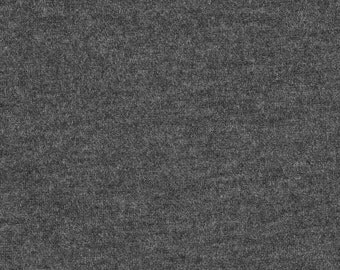 Solid Charcoal Grey 9oz Cotton Lycra Jersey Knit Fabric, 1 Yard