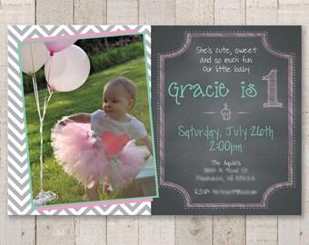 1st Birthday Invitations - Girls 1st Birthday Chalkboard Invitations - Chalkboard with Gray Chevron - Pink & Mint Green - Set of 12