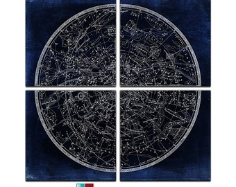 Vintage Map of the Southern Heavens Reproduction Canvas Giclee - 4 Panel - 24x24