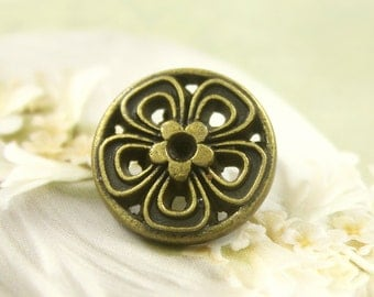 Metal Buttons - Periwinkle Metal Buttons , Antique Brass Color , Openwork , Shank , 0.71 inch , 10 pcs