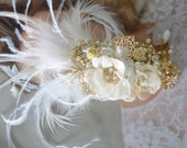 Bridal Gold Heirloom Feather hair clip, Feather Fascinator, Gold and Ivory flower, bridal hair clip, One of a Kind gold hair accessory