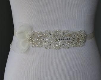 READY TO SHIP, Ivory Petals Rhinestone sash, Petal flower sash, Art Deco sash, Swarovski crystals, rhinestones, beading, Bridal sash