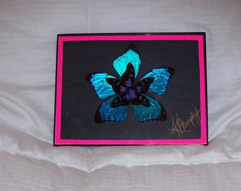 "Real  Butterfly Wings Framed "" Flower"" Collage"