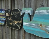 Set Of 3 Rustic Whales, Nautical Wall Hangings, Whimsical Nursery Decor