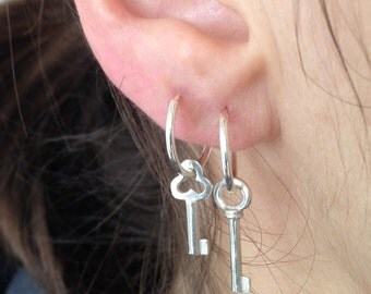 tiny key earrings. small hoops or french hook wires. sterling silver or gold vermeil • • victoria earrings