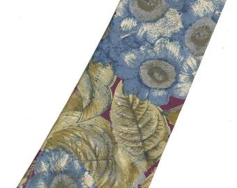 SALE - Oscar de la Renta Silk Tie blue maroon floral